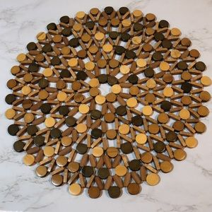 Boho Wooden Beaded Round Placemat Set